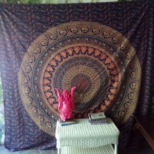 Huge Elephant and Peacock Paisley Tapestry